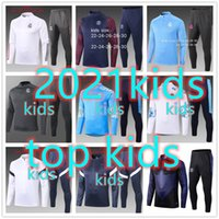 training suits 도매-20 21 kids chandal barcelona real madrid Atletico Madrid psg jordan nike adidas france kid 2020 2021 chandal futbol chándal de fútbol soccer tracksuit football training suit