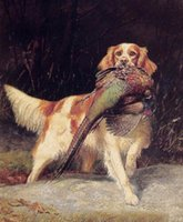 Wholesale english decor for sale - Group buy Oil painting dog English Setter with Pheasant in landscape Wall Decor Oil Painting On Canvas Wall Art