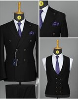 Wholesale black tuxedos resale online - Black Formal Double Breasted Men Suits Fashion Groom Tuxedos Wedding Party Mens Suits Pieces Jacket Trousers vest Tie
