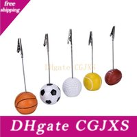 Wholesale wiring photo resale online - Sport Ball Photo Clip Alligator Wire Card Memo Photo Clip Holder Table Place Card Holder Event Party Favor Ooa3856