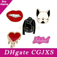 Wholesale Cartoon Brooches Loving Pet Dog Clothes And Lips Metal Enamel Pin For Men And Women Decoration Badge Mma2586