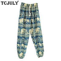 Wholesale elephants pants for sale - Group buy TCJULY Bohemian Style Elephant Patterns Printed Harem Pants Women Drawstring Ankle Banded Wide Trousers Ladies Cool Summer Pants