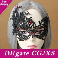 Wholesale female face mask sexy resale online - Gothic Azrael Zombie Mask Halloween Female Mask Half Face Sexy Black Lace Masquerade Mardi Gras Mask Party Decoration Cosplay