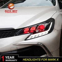 faróis do carro toyota venda por atacado-caso Car Styling Head Lamp para Reiz Toyota Mark X faróis 2010 2013 ALL LED DRL farol