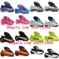 Wholesale high ankle superfly football boots resale online - Mens Soccer Cleats Mercurial Superfly Elite FG SE11 Sancho Football Boots high ankle Soccer Sneakers Shoes CR7 Neymar