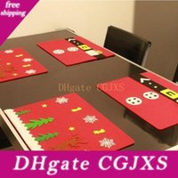 Wholesale wood rectangle table resale online - Christmas Cup Mat Christmas Placemats Non Slip Pads Heat Resistant Reusable For Dinning Snowflake Design Table Mats