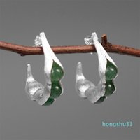 Wholesale pod peas resale online - Hot Sale Lotus Fun Real Sterling Silver Earrings Handmade Fine Jewelry Natural Gemstones Creative Pea Pods Drop Earrings for Women