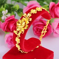 Wholesale peacock gold bracelet for sale - Group buy gold jewelry Peacock sandblasting flower gold bracelet k women s yellow copper Sand bracelet plated for women rmv3f