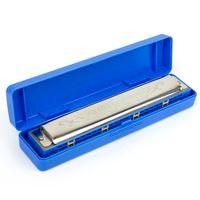 Wholesale 24 hole tremolo harmonica resale online - Tremolo Harmonica French Harp Mouth Organ Phosphor Bronze Holes Key of C