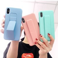 Wholesale customize silicone wristbands for sale - Group buy Magnetic holder Phone Cases For iPhone Pro XR XS Max X s Plus Silicone Candy color Wristband Shockproof Bracket Cover
