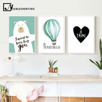 Wholesale funny cartoon posters resale online - Nordic Art Cartoon Bear Balloon Canvas Poster Minimalist Painting Funny Wall Picture Print Modern Children Room Decoration