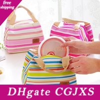 Wholesale insulated cooler tote bag for sale - Group buy Canvas Stripe Picnic Lunch Drink Thermal Insulated Cooler Tote Bag ml Portable Carry Case Lunch Box Colors Lx1895