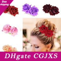 Wholesale designer bridal jewelry for sale - Group buy Ladies Elegant Festival Bridal Flower Hair Comb Wedding Accessories Red Rose Hairpin Bridesmaid Hair Jewelry Party Decoration Wx9