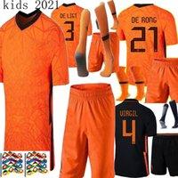 Wholesale football shirts holland for sale - Group buy 20 Nederland Netherlands Nations League DE JONG VIRGIL orange black kids kit Home soccer jersey MEMPHIS holland kids football shirts