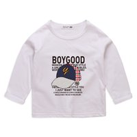 Wholesale white cap style boy resale online - White Black Yellow Blue Full Sleeve T Shirts For Baby Boys Spring Autumn Kids Casual Clothes Print Letter Cap boy Roung Neck Pullover