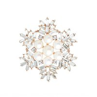Wholesale snowflake crystal brooch pin resale online - Korean style simple snowflake crystal brooch women s pearl brooch suit accessories all match Coat Pin coat pin shawl cIeQr