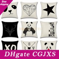 Wholesale panda pillow case resale online - Pillow Covers Panda Printed Throw Pillow Case Geometry Pattern Cushion Covers Home Decorative Pillowcase Black And White Styles Yw1114