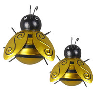 ingrosso scultura in metallo-Bugs 2PCS Honey Bee Metal Craft Hanging Wall Sculpture Garden Art Decor