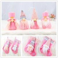 Wholesale pink christmas stockings for sale - Group buy Pink Christmas Stocking Faceless Doll Flannel Christmas Hanging Decorative Stocking set Pink Faceless Doll Decoration DHC1871