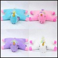 Wholesale 4 Colors cm Unicorn Doll Unicorn Plush Toy Cartoon Unicorn Pillow Cartoon Accessories Kids Xmas Gifts CCA8261 Lgwo
