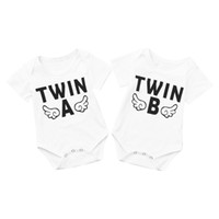 Wholesale newborn baby girl twins for sale - Group buy Newborn Toddler Baby Boys Girls Rompers Funny Letter Twins Cartoon Jumpsuit Clothes For Infant Boys Girls Short Sleeve Clothing
