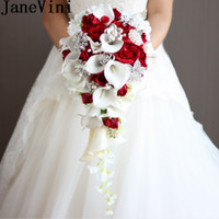 2020 Artificial Pearl Crystal Bridal Bouquets Ivory Waterfall Wedding Bridal Flower Red Brides Handmade Brooch Bouquet De Mariage