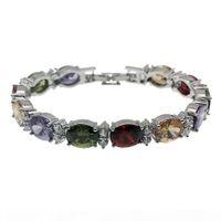 Wholesale bracelet topaz for sale - Group buy Natural Gemstone Links Bracelet Sterling Silver Garnet Amethyst White Topaz Morganite Fashion Jewelry Chain Inch