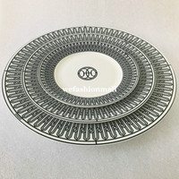 High-end Ceramic tableware Black line plates set Bone china Dinnerware Porcelain dishes 6 inch 8 inch flat plate Cup and saucer Fashion home