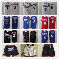 Wholesale julius resale online - Mens Philadelphia ers Throwback Jersey Allen Iverson Julius Erving Basketball Jersey Basketball Shorts Black Red Blue
