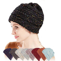 ingrosso cavo grosso maglia beanie-Winter Beanies 25 Colors Women Knitted Hats Warm Baggy Stretch Knit Chunky Cable Beanie Ski Cap LJJO8299