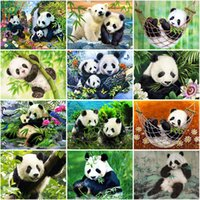 Wholesale painting bamboo walls for sale - Group buy DIY Panda D Diamond Painting Cross Stitch Green Bamboo Animal Full Round Drill Cartoon Mosaic Embroidery Wall Art Home Decor