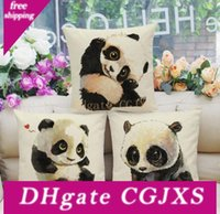 Wholesale panda pillow case for sale - Group buy Lovely Baby Panda Pillow Case Cotton Linen Chair Seat Cover x45cm Pillowcase Home Textile Office Sofa Supplies