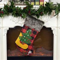Wholesale pink christmas stockings resale online - yuletide SantaClaus gift bag christmas socks ChristmasEve christmas ornaments cover pendant elk christmas tree Christmasparty yule