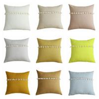 Wholesale lace pillow cases resale online - Pillow Case Solid Candy Pillowcases Tassel Lace Lint Pillow Covers Home Decorative Cushion Cover Office Sofa Vintage Pillowcase Mat LSK697