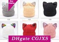 Wholesale crochet kids cat hat for sale - Group buy Caps Cat S Ear Toddler Kids Chenille Hats Girl Boy Winter Warm Sequins Crochet Knit Hat Beanie Children S Caps M920