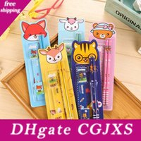 Wholesale animals goats for sale - Group buy Kids Pencil Animal Set Five Piece Cartoon Stationery Set School Supplies Prizes Gifts Cartoon Animal Tiger Goat Fox Writing Supplies