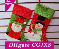 Wholesale sock best resale online - Long Socks Merry Christmas Best Gift Stockings Santa Claus Snowman Christmas Ornament Reindeer Stockings Decorations Hanger