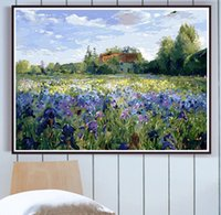 Wholesale purple oil art painting resale online - Frameless Purple Flower DIY Painting By Numbers Landscape Wall Art Picture Hand Painted Oil Painting For Home Decortion