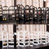 Wholesale pendulum jewelry resale online - Hanging earrings subnet red display Hanging ear storage rack floor vertical pendulum multi functional creative large capacity jewelry rack s