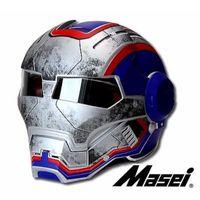Wholesale ironman helmet for sale - Group buy MASEI IRONMAN motorcycle helmet War US Captain theme Casque motocross half helmet Personality Cycle Open face Blue GO