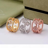 Wholesale new gold ring man stones resale online - yellow rose white gold plated cz stone Kaleidoscope hollow flower rings for women men new arrival luxury fashion jewelry