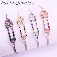 Wholesale copper connector pins for sale - Group buy 10PCS Fashion Charm Micro Rainbow CZ Cubic Zirconia Pin Connector Bracelets Adjustable Chain For Women Jewelry