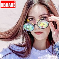 Wholesale carnival glasses resale online - RARERB Unisex Round Rave Mosaic Crystal Sunglasses Club Party Psychedelic Prism Diffracted Lens Sun Glasses Carnival