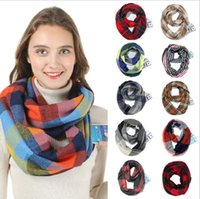 красный плащ бесконечный шарф оптовых-Pocket Scarves Hidden Zipper Red Plaid Pashmina Infinity Winter Warm Scarf Soft Outdoor Women Travel Scaves Cashmere Pashmina Wraps AAB1147