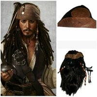 Wholesale caribbean hats for sale - Group buy Pirates of the Caribbean Captain Cosplay Jack Captain Wig Headband anime Hat Pirates Wig Headwear for Halloween Carnival Party
