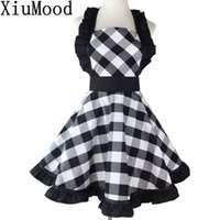 Wholesale white cook aprons for sale - Group buy XiuMood Woman s Apron For Home Kitchen Cooking Dining Accessory Black And White Buffalo Plaid Retro Full Aprons Bib LJ200815