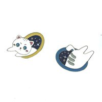 Wholesale joint pins for sale - Group buy Japanese style cute cartoon split joint little white cat jumping through hole pin badge brooch