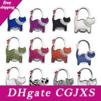 Wholesale metal favor bags resale online - Table Cat Foldable Purse Bag Rhinestone Hanger Handbag Hook Holder Multicolor Birthday Christmas Gift Party Favor Za5219