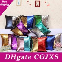 Wholesale pillowcase green resale online - Sequin Mermaid Pillowcase Gradient Pillow Case Mermaid Cushion Covers Insert Magic Styles Double Paillette Covers Sofa Wedding Bed Decor
