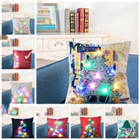 Wholesale woven home pillowcase resale online - LED Pillow Case cover Luminous Linen Pillow Covers Light Cushion Cover Christmas Pillowcase Home Sofa Car Decoration DHL DHF1173